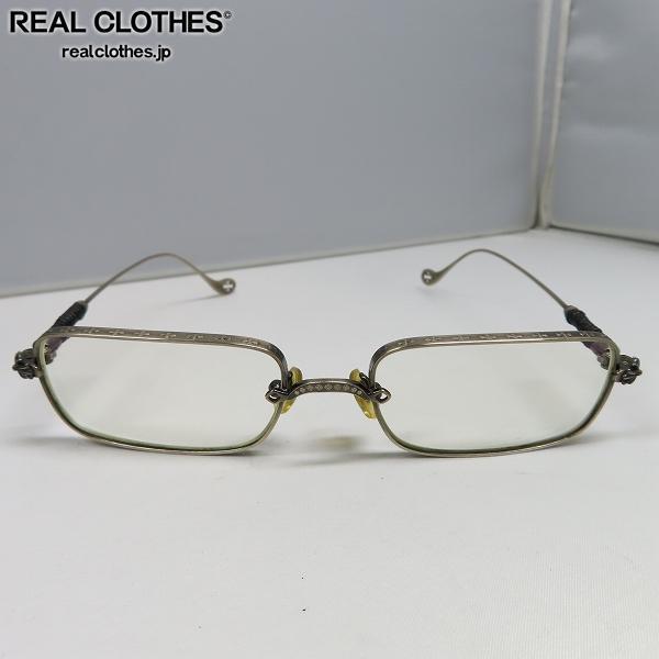 CHROME HEARTS/クロムハーツ クロスレザーテンプル メタルフレーム スクエア眼鏡/メガネフレーム