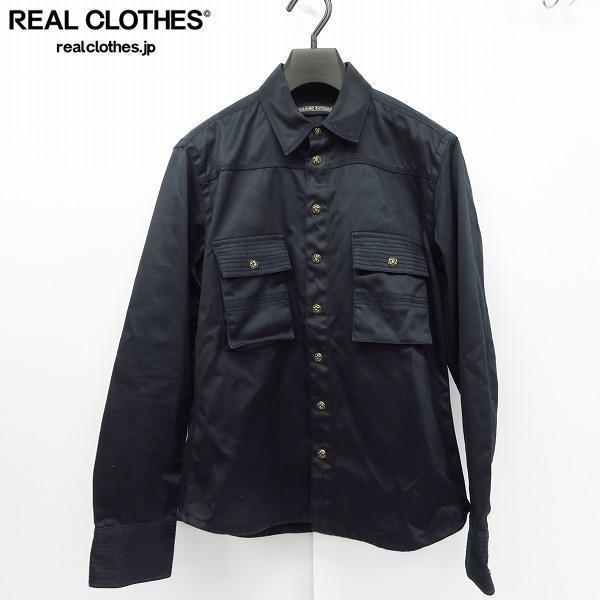 CHROME HEARTS/クロムハーツ フレアスナップボタン 両胸ポケット コットンシャツ M