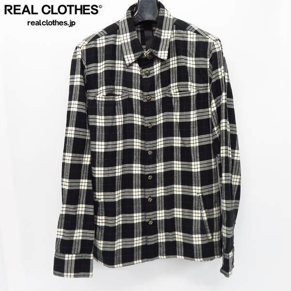 CHROME HEARTS/クロムハーツ クロスボタン チェック ネルシャツ トップス グレー/M /060