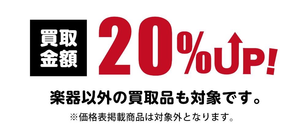 買取金額20%UP!楽器以外の買取品も20%UP!価格表掲載商品のみ対象外となります。