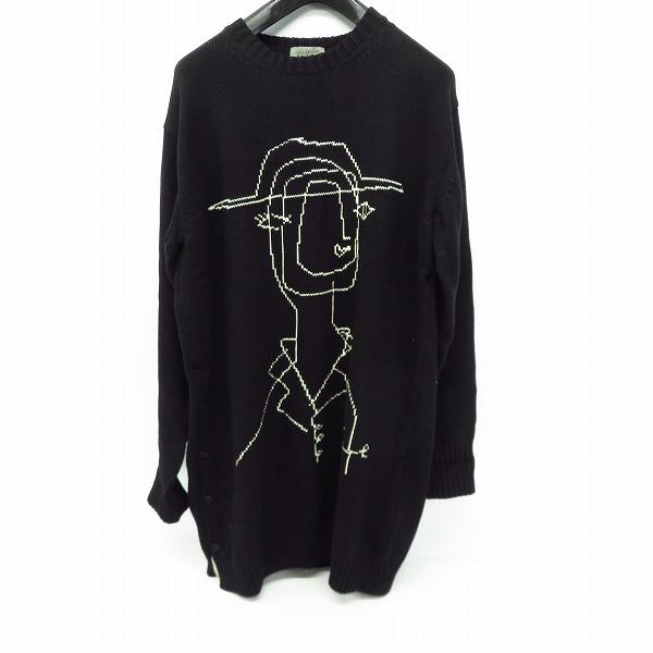 高価買取アイテムのYohji Yamamoto POUR HOMME/ヨウジヤマモト プールオム HR-K13-092 POUR HOMME 16AW Rie Knit 宮沢りえ刺繍ロングニットセーター HR-K13-092の買取上限価格は45,000円
