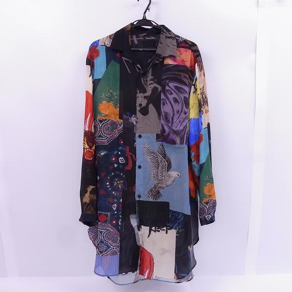 高価買取アイテムのBLACK Scandal Yohji Yamamoto/ブラックスキャンダル ヨウジヤマモト HW-B55-232 18SS パッチワーク 隠し衿ロングシャツ HW-B55-232の買取上限価格は45,000円
